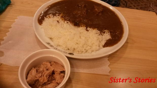 meat curry rice and tuna